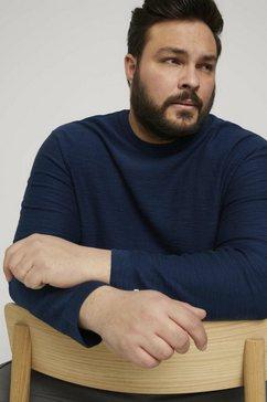tom tailor men plus trui met ronde hals sweatshirt in mêlee-look blauw