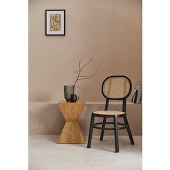 leger home by lena gercke stoel morez massief houten frame, rotan inzetstukken beige