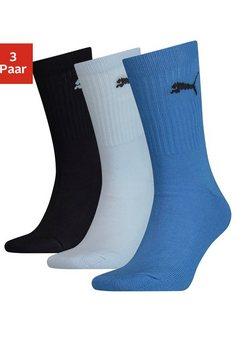 puma sportsokken junior met klassieke rib (3 paar) blauw