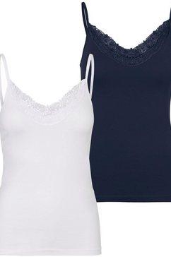 vero moda top met spaghettibandjes vminge lace singlet met kant (set van 2) blauw