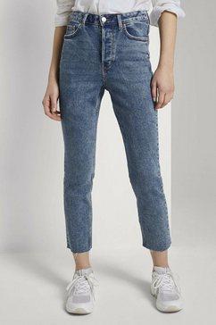 tom tailor denim high-waist jeans »lotte highwaist straight jeans aus bio-baumwolle« blauw