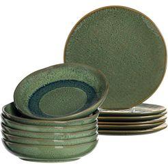 leonardo eetservies matera rustieke uitstraling (set, 12-delig) groen