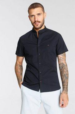 tommy hilfiger overhemd met korte mouwen slim stretch mandarin shirt blauw