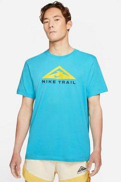 nike runningshirt nike dri-fit short-sleeve trail running t-shirt blauw