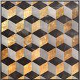 reinders! artprint op linnen kubuselement abstract in goud - artprint op linnen goud