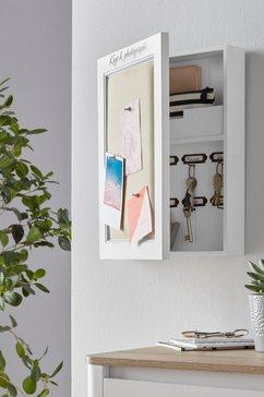 home affaire sleutelkastje met linnen kussen voor vastpinnen van foto's en notities wit