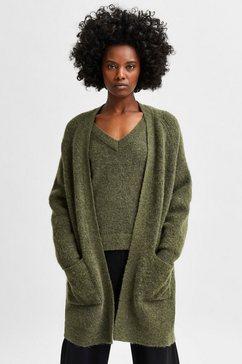 selected femme lang vest slflulu in een open model van zachte wolblend groen