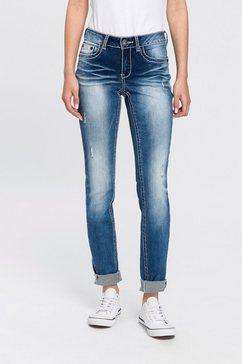 arizona skinny fit jeans met contrastnaden en klepzakken low waist blauw