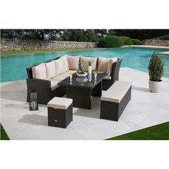 merxx tuinmeubelset barcelona 2 banken, zitbank, hocker, tafel (5-delig) grijs