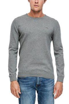 s.oliver trui met ronde hals met klein logo grijs