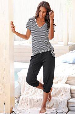 h.i.s capripyjama met gestreept t-shirt en casual broek zwart