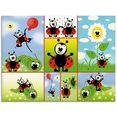 artland print op glas lieveheersbeestje collage (1 stuk) multicolor