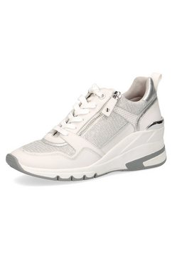 caprice sneakers met sleehak met metallicapplicatie wit