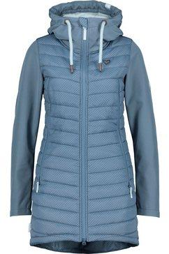 alife and kickin outdoorjack caroak sportief jasje in softshell-downlook-materialenmix met een stijlvolle print blauw