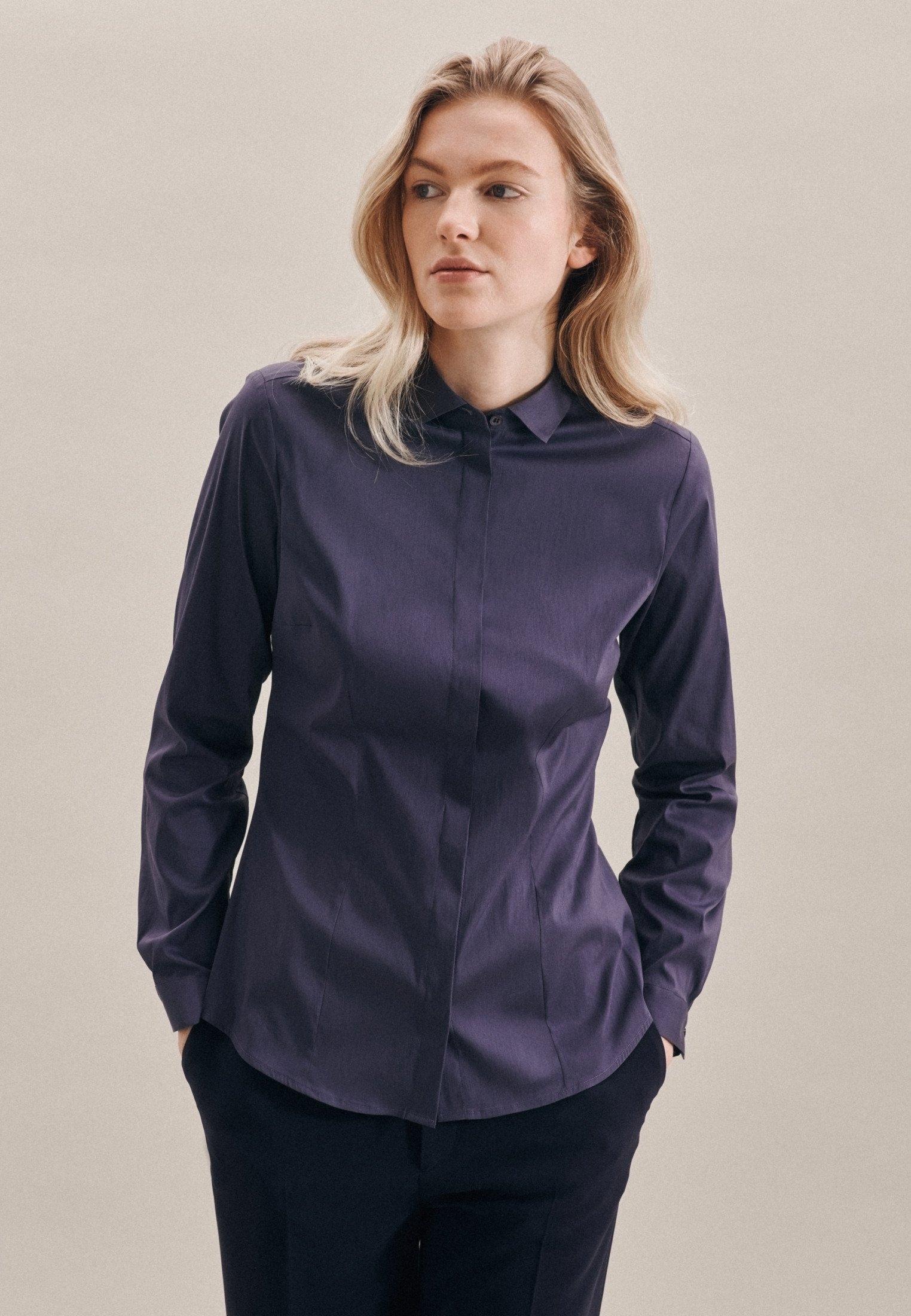 seidensticker overhemdblouse Zwarte roos Lange mouwen kraag uni nu online bestellen