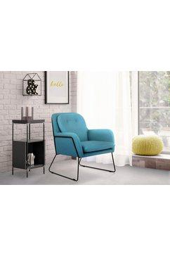 inosign fauteuil flin met knopen en kussen-look achter blauw