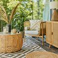 leger home by lena gercke loungestoel isalie frame van massief hout, rotan inzet, incl. kussen beige