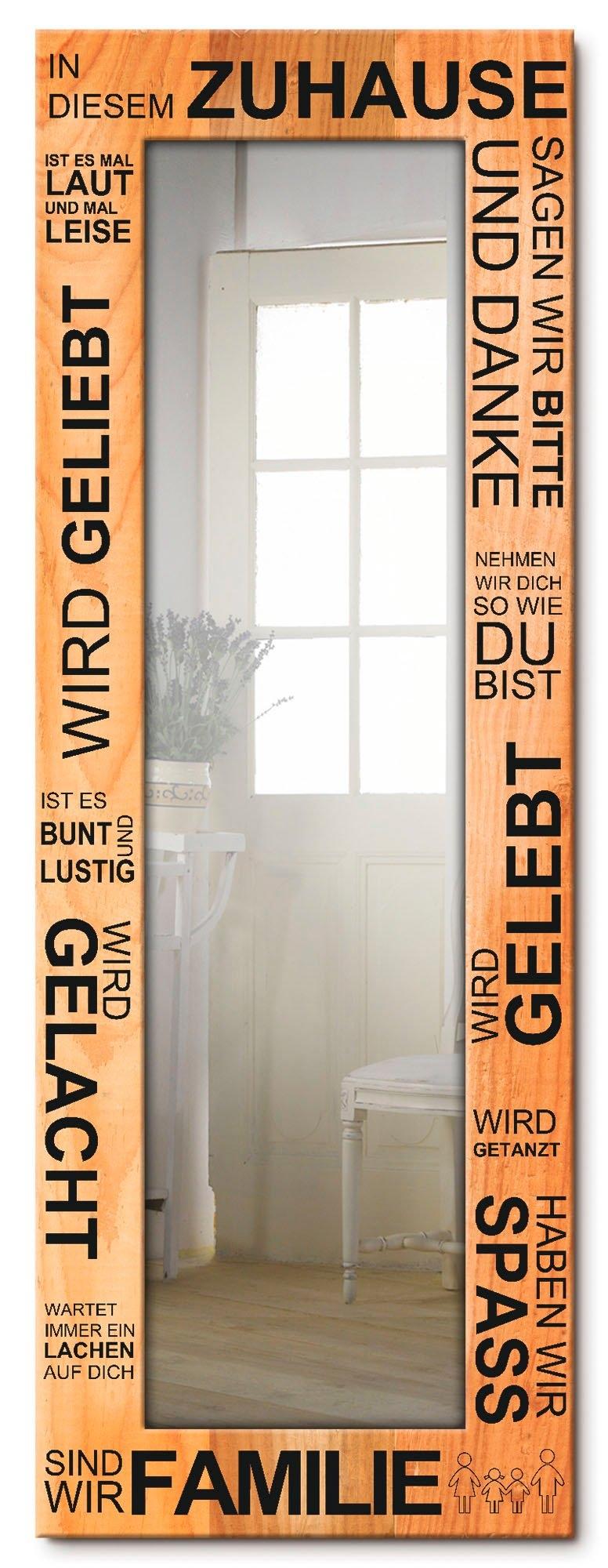 Artland wandspiegel In dit huis - bruin ingelijste spiegel voor het hele lichaam met motiefrand, geschikt voor kleine, smalle hal, halspiegel, mirror spiegel omrand om op te hangen goedkoop op otto.nl kopen