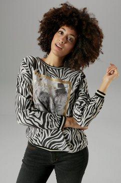 aniston selected shirtblouse met glinstersteentjes en folieprint - nieuwe collectie grijs