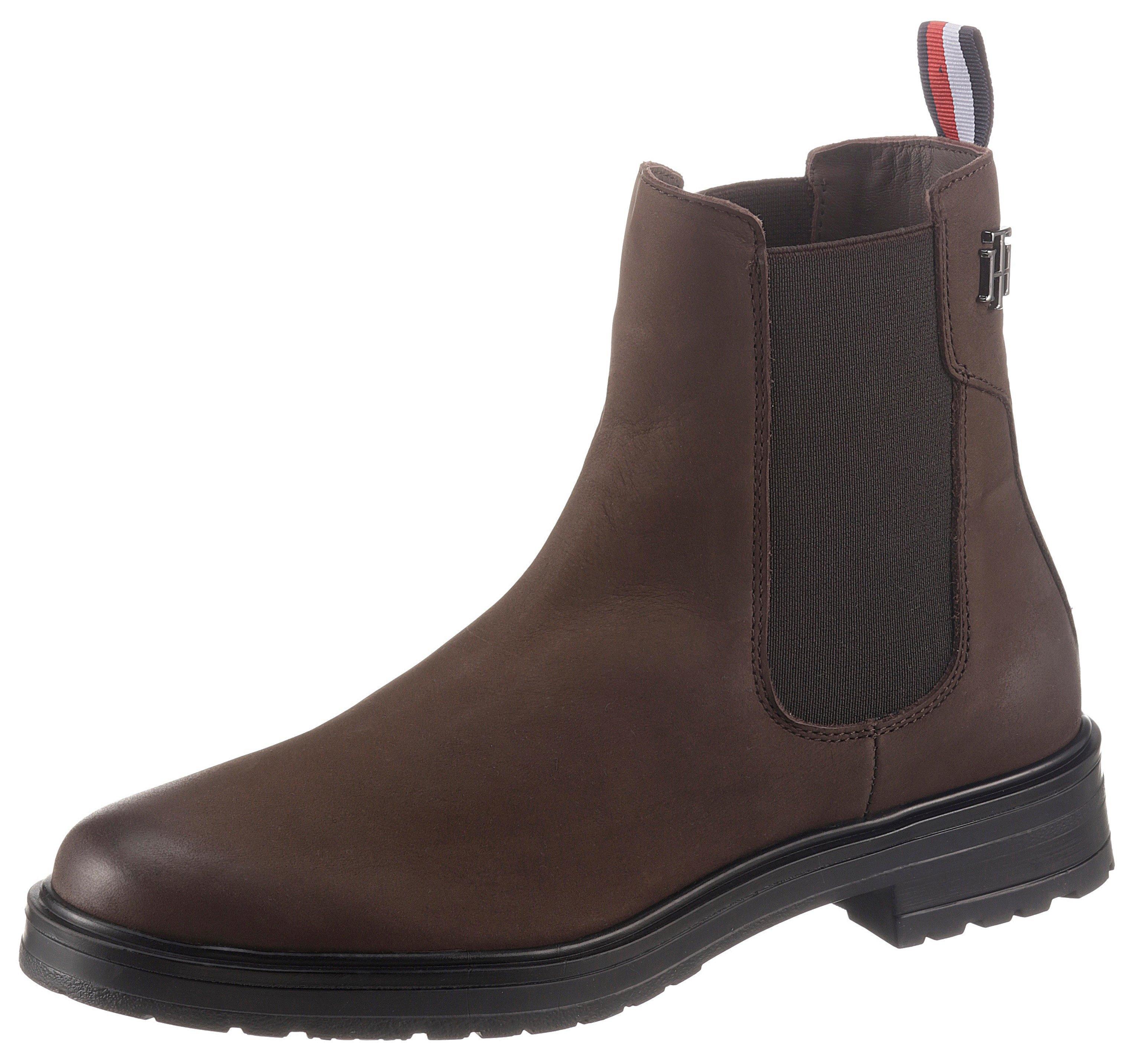 Tommy Hilfiger Chelsea-boots TH STUD FLAT BOOT met gestreepte aantreklus goedkoop op otto.nl kopen