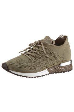 la strada sneakers met sleehak fashion sneaker met metallic-details bij de hak groen