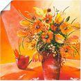 artland artprint bos bloemen in vaas i in vele afmetingen  productsoorten - artprint van aluminium - artprint voor buiten, artprint op linnen, poster, muursticker - wandfolie ook geschikt voor de badkamer (1 stuk) oranje