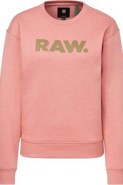 g-star raw sweatshirt premium core raw. crewneck met raw.-logo op borsthoogte roze