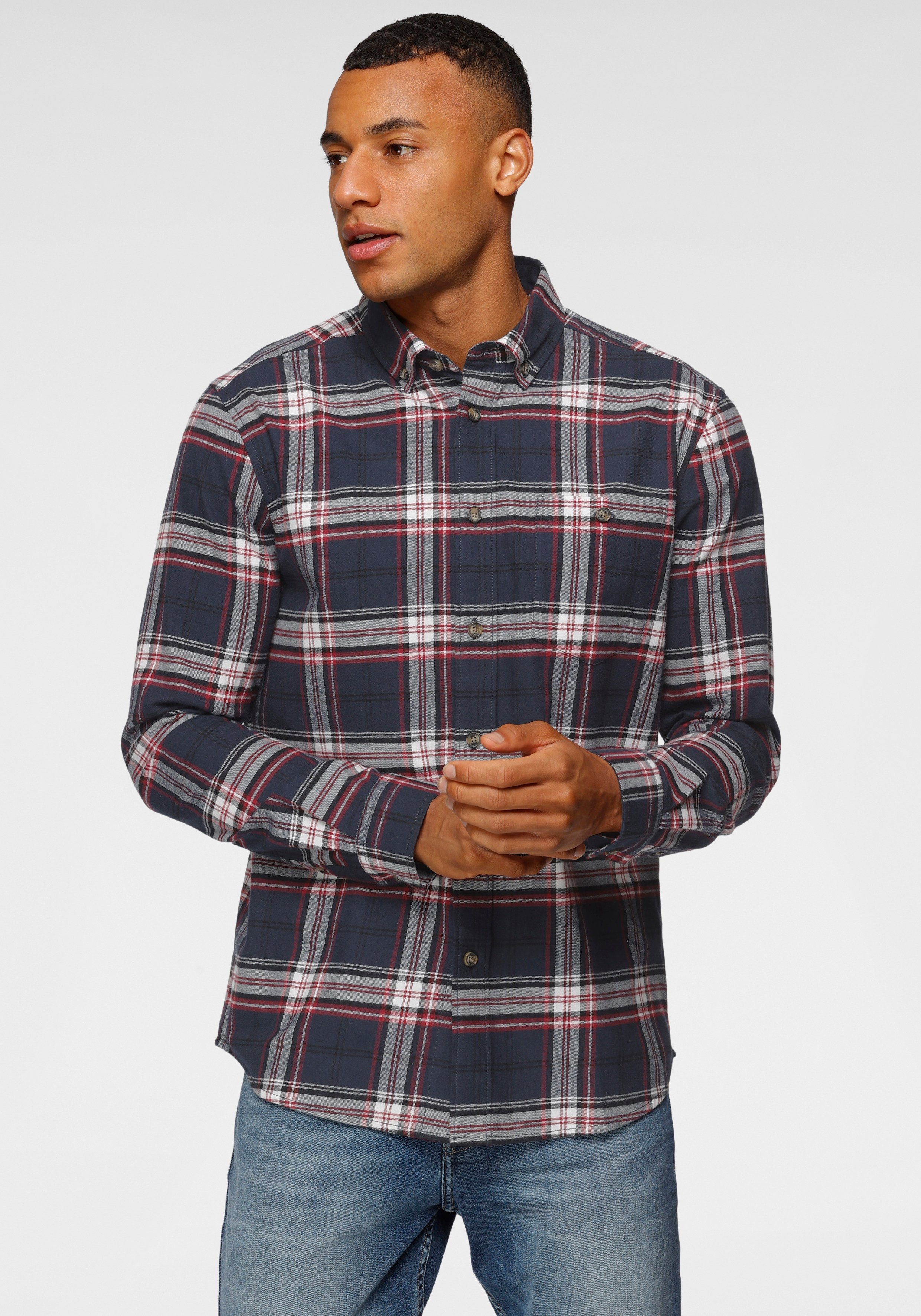 H.I.S overhemd met lange mouwen met button-downkraag nu online kopen bij OTTO