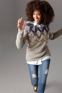 aniston selected gebreide trui met pailletten en glitter grijs