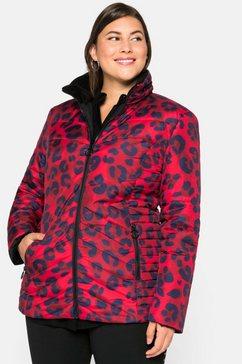 sheego outdoorjack tweezijdig te dragen jas met animal-print rood