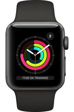apple series 3 gps, aluminiumkast met sportarmband 38 mm watch (watchos 5) grijs