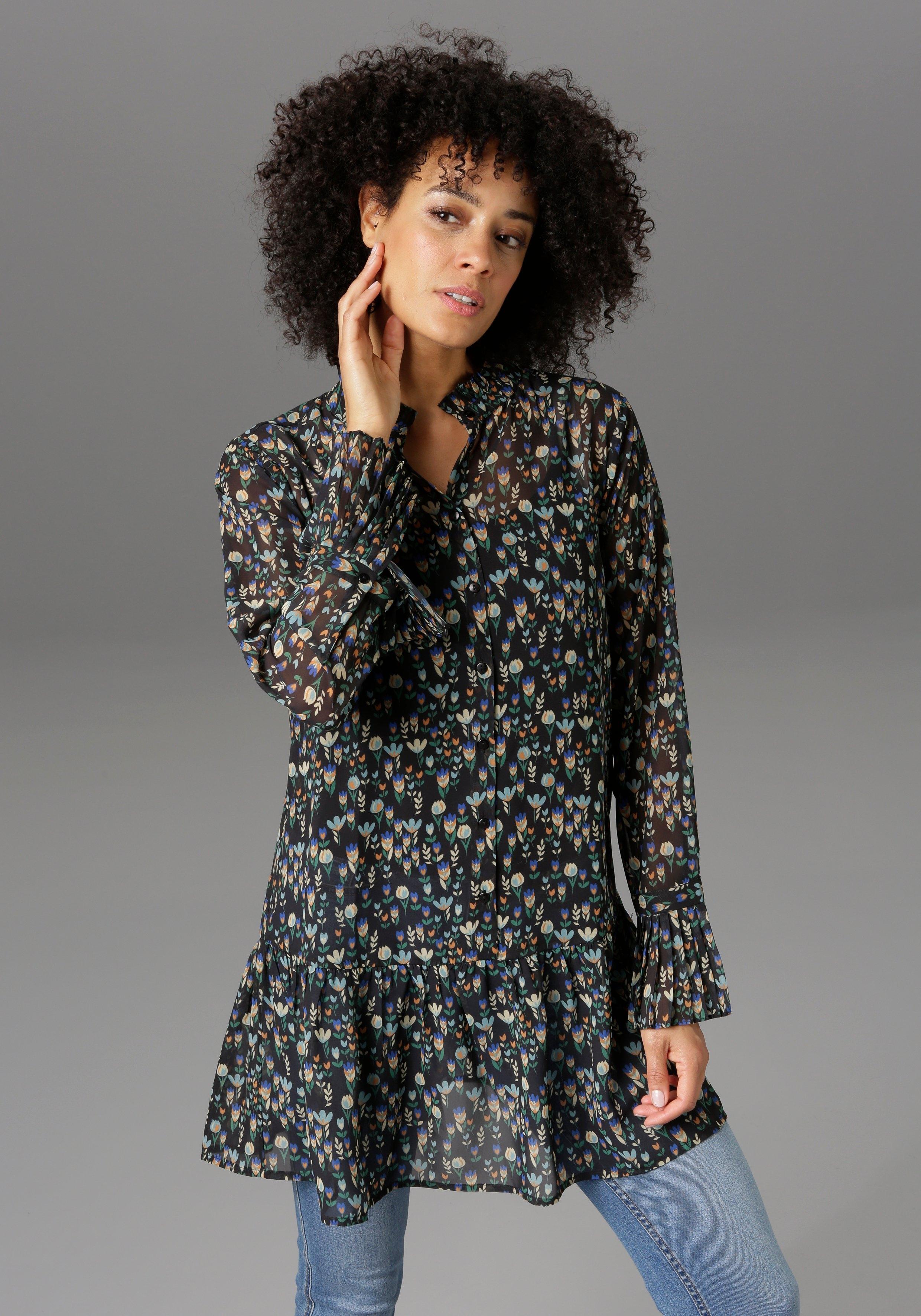 Aniston CASUAL Lange blouse met ruches en volant - nieuwe collectie bij OTTO online kopen