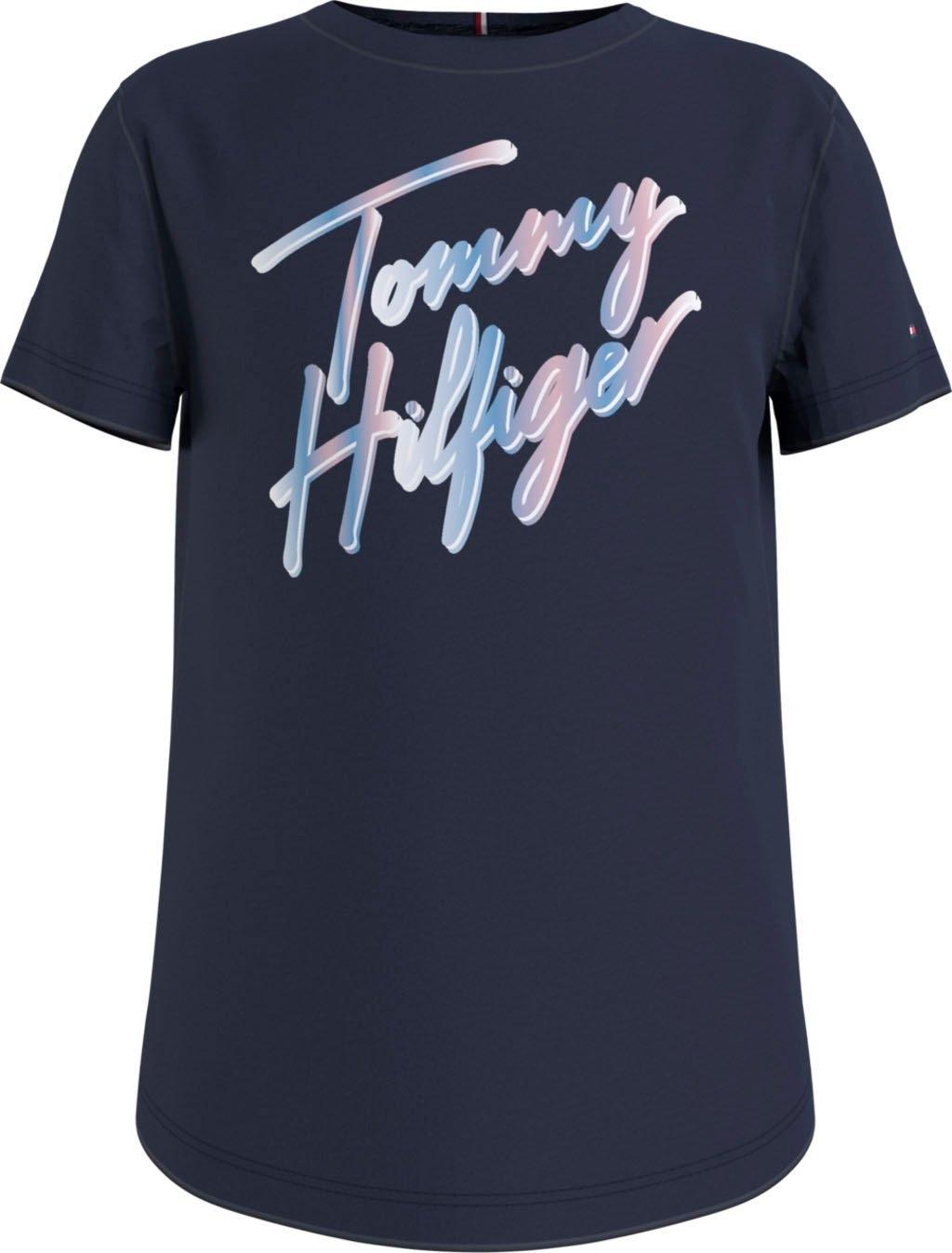 Op zoek naar een Tommy Hilfiger T-shirt SCRIPT PRINT TEE S/S met meerkleurig logo-opschrift? Koop online bij OTTO
