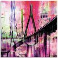 artland print op glas hamburg skyline abstracte collage (1 stuk) roze
