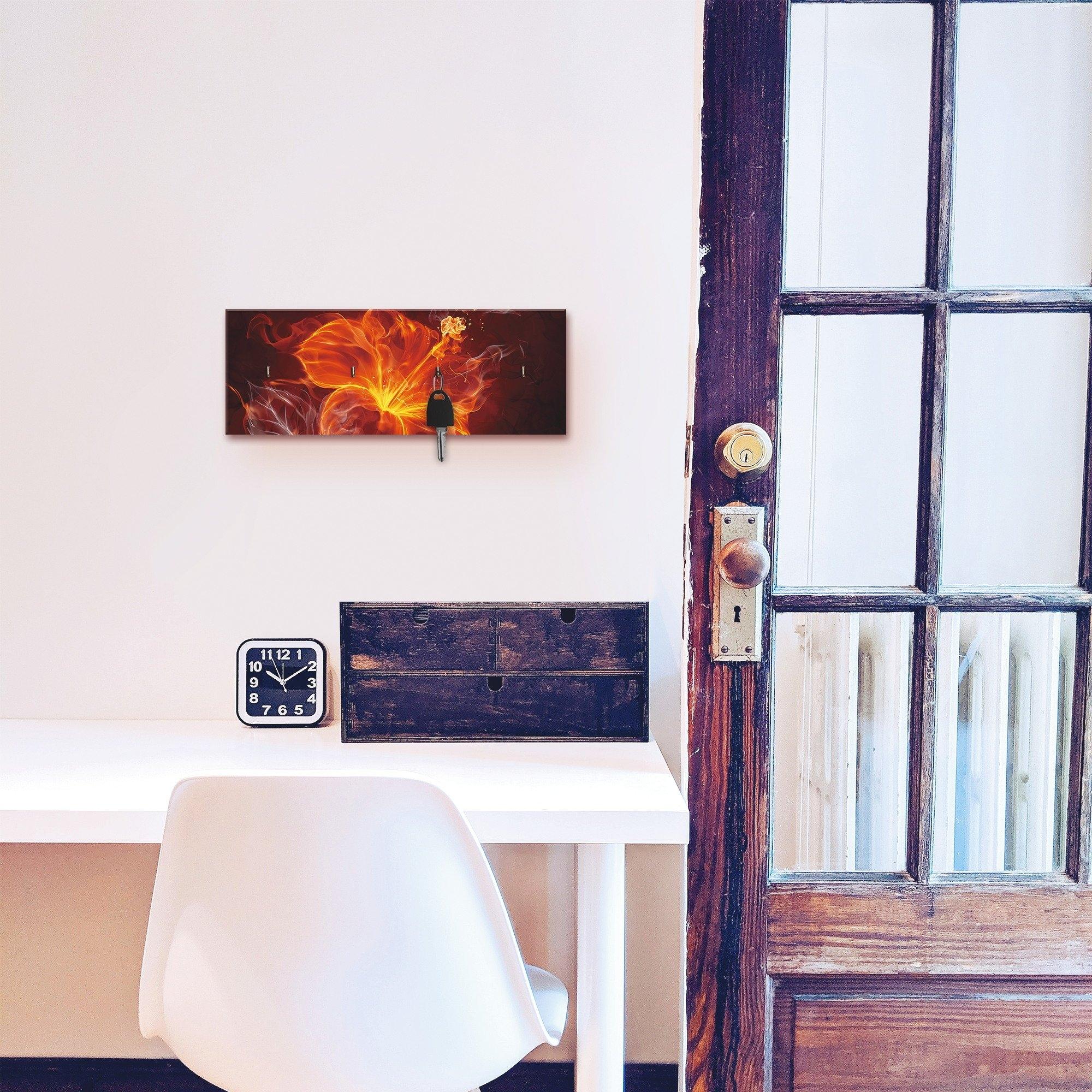Artland Sleutelbord Vuurbloem van hout met 4 sleutelhaakjes – sleutelbord, sleutelborden, sleutelhouder, sleutelhanger voor de hal – stijl: modern - verschillende betaalmethodes