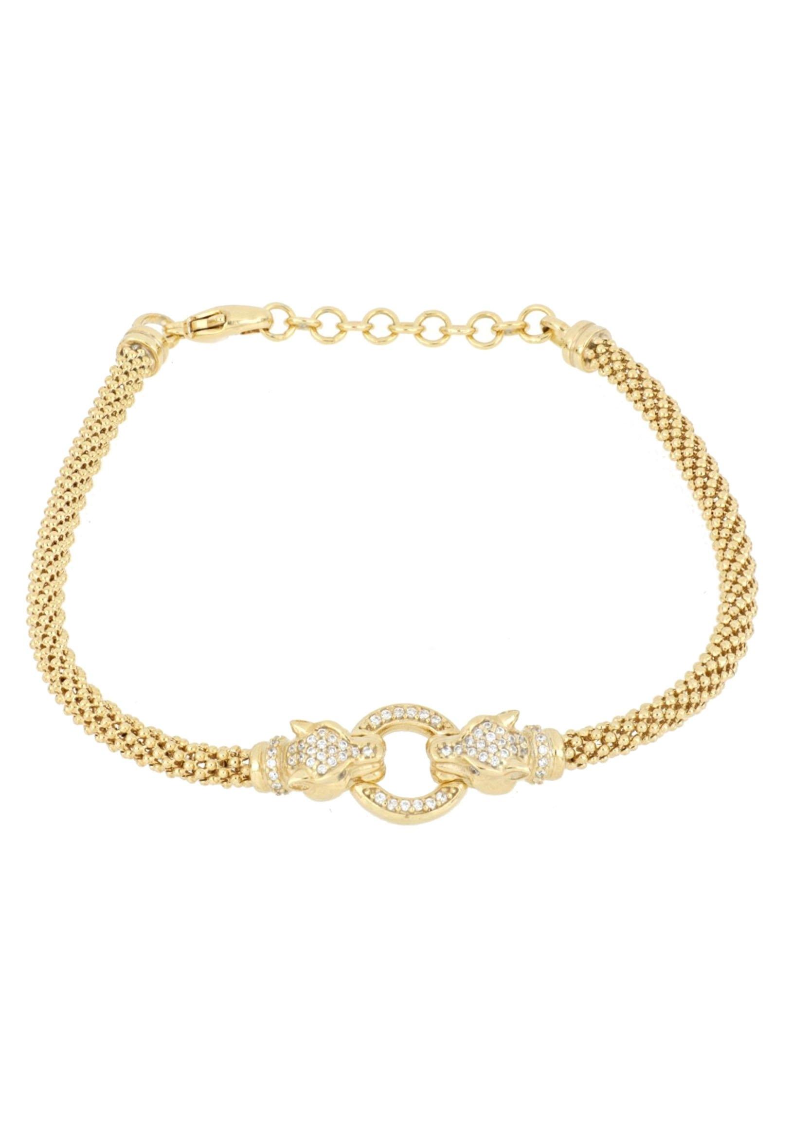 Firetti armband Tijgerkoppen en ring, verguld, glans-look met zirkoon bestellen: 30 dagen bedenktijd