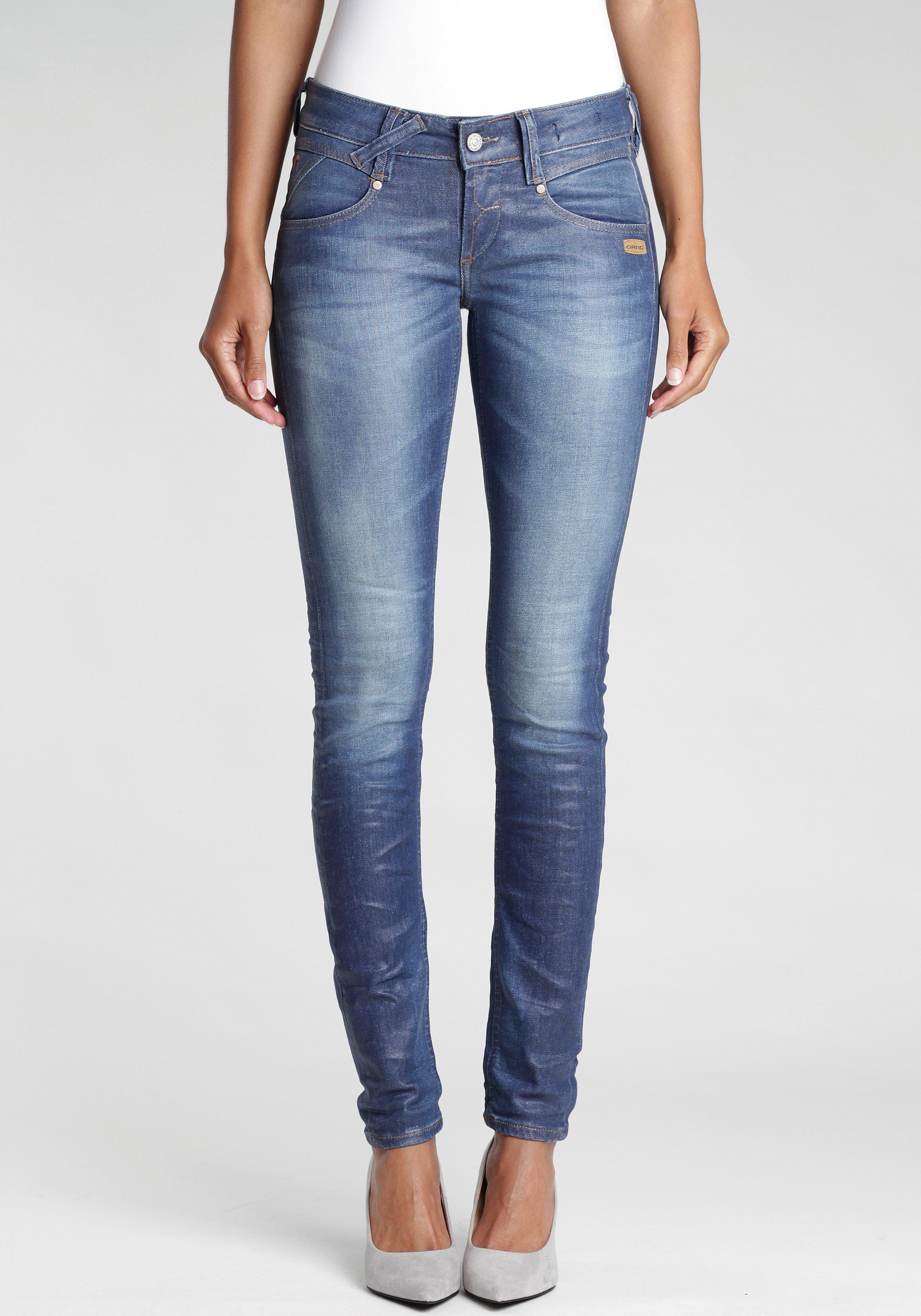 GANG skinny fit jeans Nena met gekruiste riemlussen links voor in de webshop van OTTO kopen