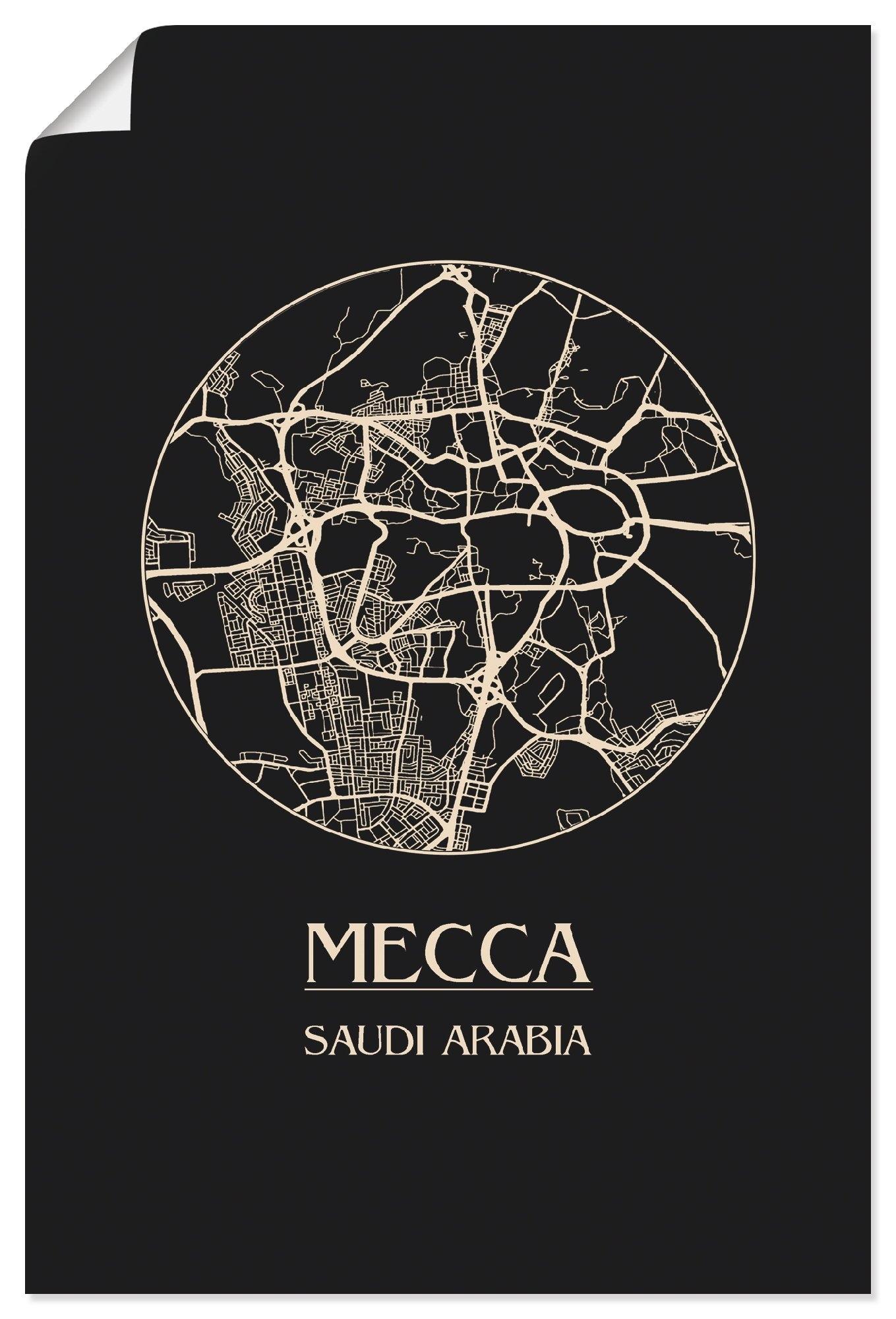 Artland artprint Retro kaart Mekka cirkel in vele afmetingen & productsoorten - artprint van aluminium / artprint voor buiten, artprint op linnen, poster, muursticker / wandfolie ook geschikt voor de badkamer (1 stuk) nu online kopen bij OTTO