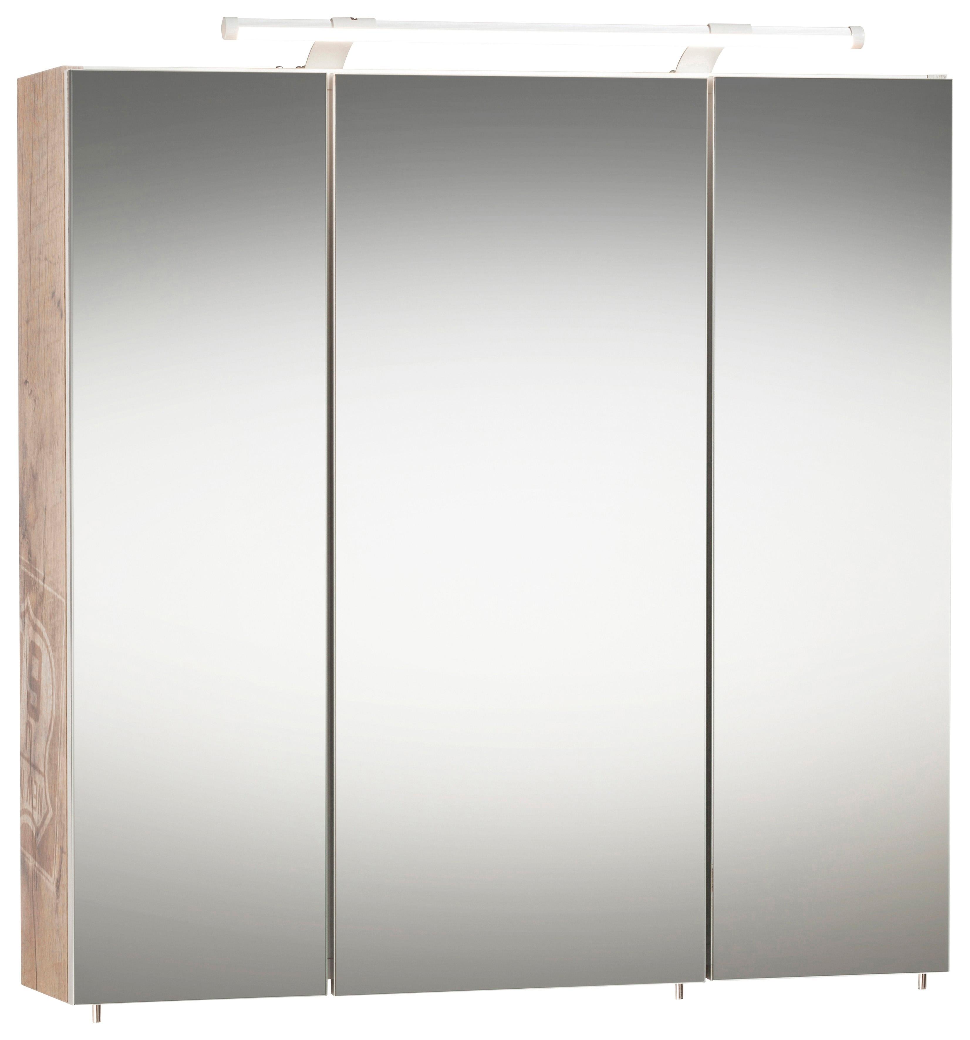 Schildmeyer spiegelkast Dorina Breedte 70 cm, 3-deurs, ledverlichting, schakelaar-/stekkerdoos, glasplateaus, Made in Germany - gratis ruilen op otto.nl