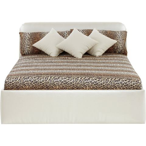 Bed bekleed met imitatieleer Bonell binnenveringsmatras H3 beige Westfalia Polsterbetten 804512