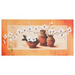 artprint, home affaire, 's., a.: witte kersenbloesem in rode vazen ii' oranje