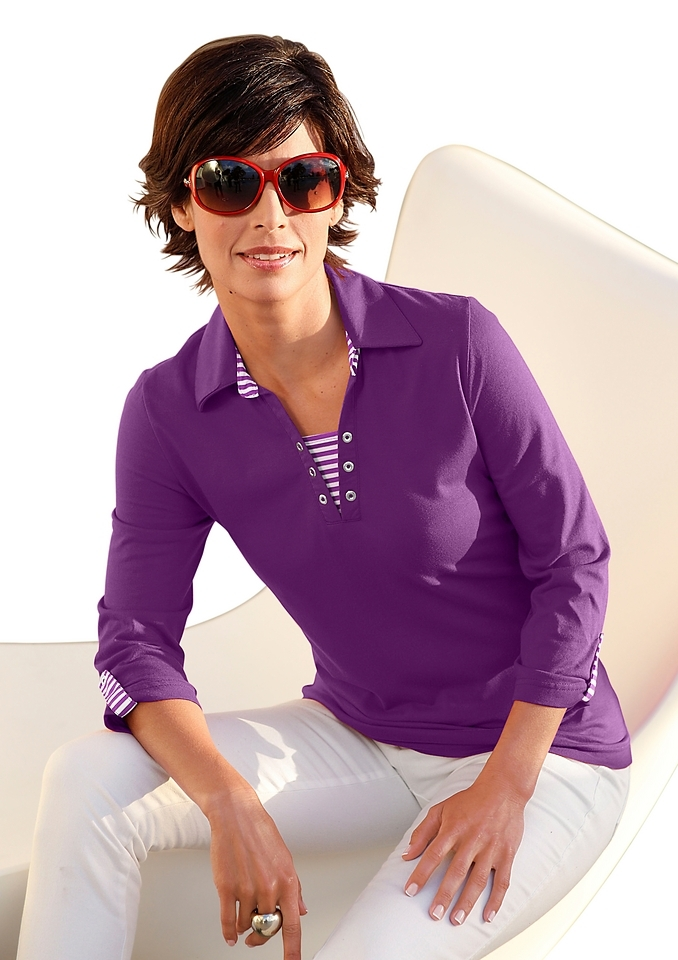 Casual Looks shirt met omgeslagen 3/4-mouwen nu online kopen bij OTTO