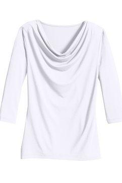 classic inspirationen shirt met kleine cascadehals wit