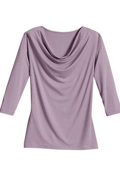 classic inspirationen shirt met kleine cascadehals paars