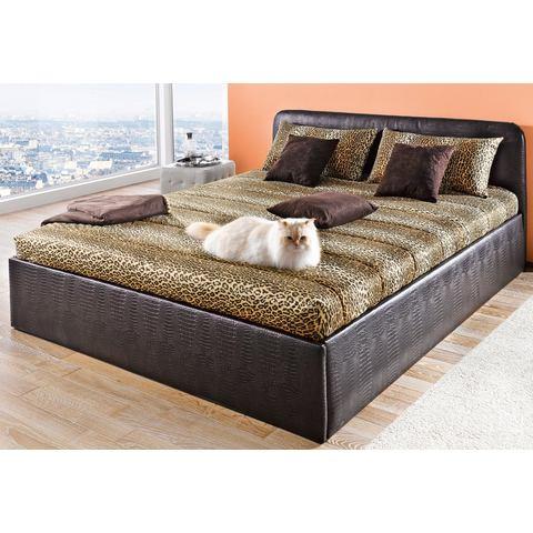 Bed bekleed met imitatieleer Bonell binnenveringsmatras H2 bruin Westfalia Polsterbetten 788917