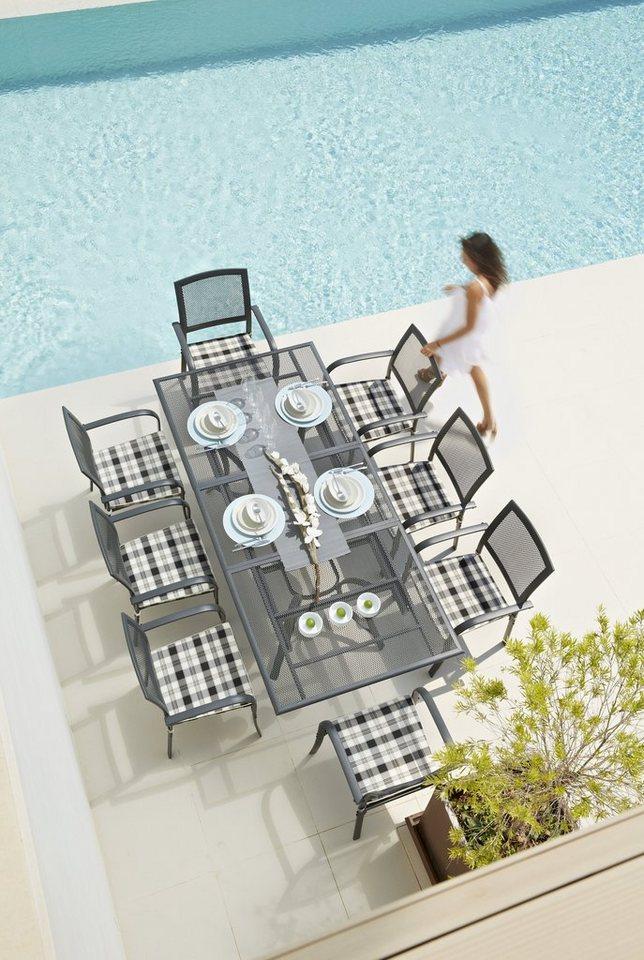 Tuinmeubelset Montreal, 8 stoelen + kussens, tafel 180-240 cm, aluminium/textiel