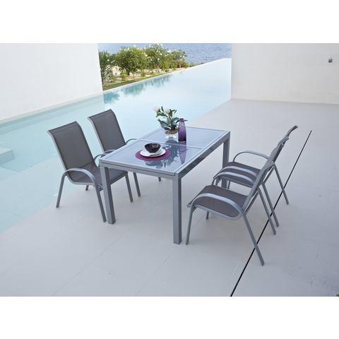 MERXX Tuinmeubelset Amalfi, 5 st., 4 fauteuils, tafel 90x120-180 cm, aluminium / textiel