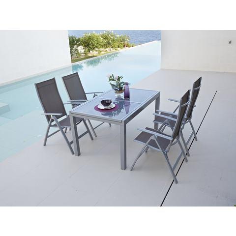 Tuinmeubelset Amalfi, 5st.,4 vouwfauteuils, tafel 90x120-180 cm, aluminium/textiel