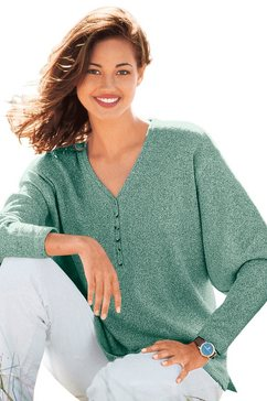 trui met v-hals en zijsplitten groen