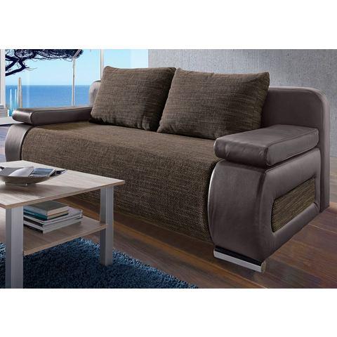 slaapbank huismerk Luxe imitatieleer structuurstof bruin 879487